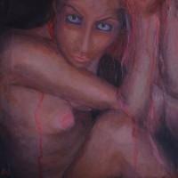 """""""L'Autre"""" (53x56cm pastels à l'huile et acrylique)"""