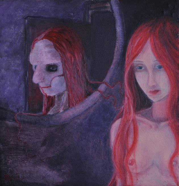 """""""L'un; conscient de l'autre"""" (53x56cm pastels à l'huile et acrylique)"""