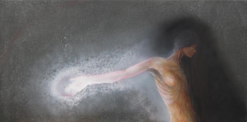 """""""Reaching the core"""" (60x30cm acryliques sur céramique)"""